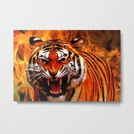 Tiger and Flame Metal Print
