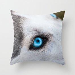 Siberian Husky Eyes (Color) Throw Pillow