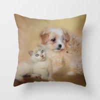 best friends Throw Pillows featuring Best Friends by Jai Johnson