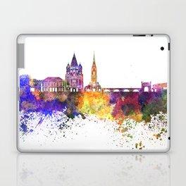Metz skyline in watercolor background Laptop & iPad Skin