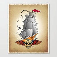 ship Canvas Prints featuring ship by mark ashkenazi