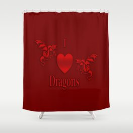 I Heart Dragons Shower Curtain