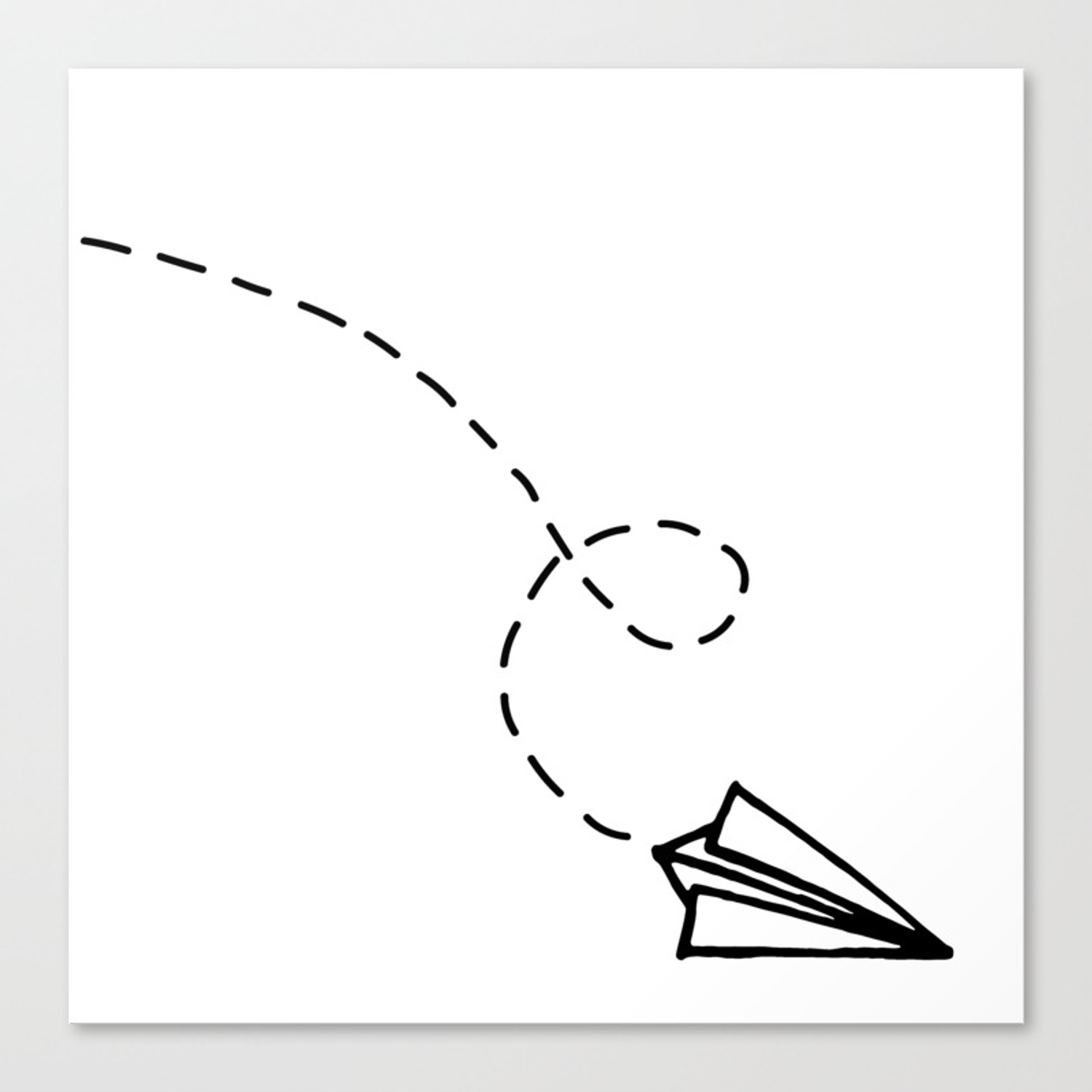 Send It Simple Paper Airplane Drawing Canvas Print By