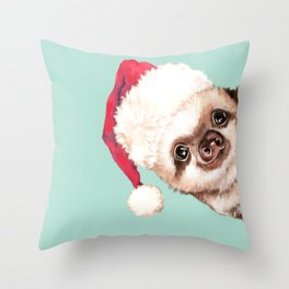 Santa Sneaky Baby Sloth Throw Pillow
