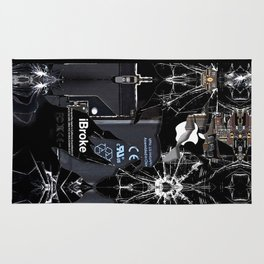 Broken, rupture, damaged, cracked black apple iPhone 4 5 5s 5c, ipad, pillow case and tshirt Rug