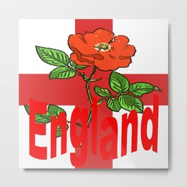 St George Flag With English Rose For England Fans Metal Print