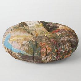 Amalfi Coast Campania, Italy Garden Terrace Vineyard and Flowers landscape seaside painting Floor Pillow