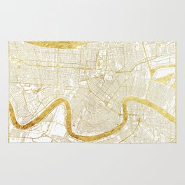 New Orleans Map Gold Rug