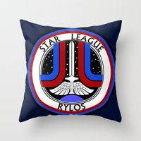 league Throw Pillows featuring Star League by CromMorc