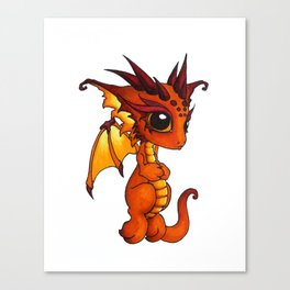 Baby Orange Dragon Canvas Print