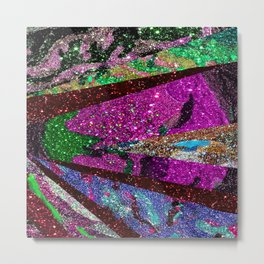 Fuschia Outer Space Forest Explosion Metal Print