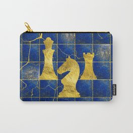 Lapis Lazuli Chessboard and Gold Chess Pieces Carry-All Pouch