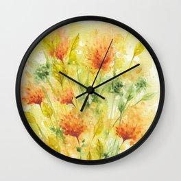 Fiery Flower Field Wall Clock