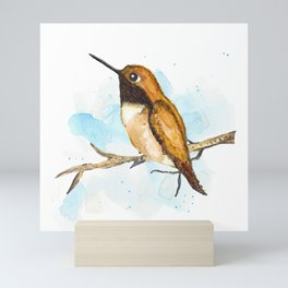 Rufous Hummingbird Watercolor Mini Art Print