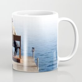 Grandson and Grandfather fishing on the end of a Boat Coffee Mug