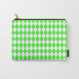 Bright Neon Green and White Harlequin Diamond Check Carry-All Pouch