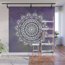 FLORAL WATERCOLOR VIOLET AND WHITE MANDALA  Wall Mural