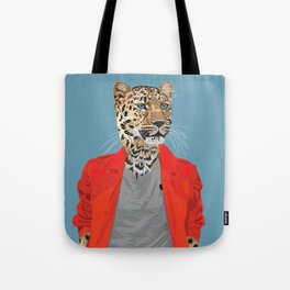 Leopard wearing Costume National Tote Bag