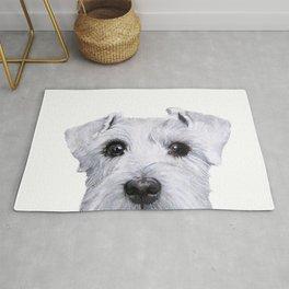 Schnauzer White Dog original painting print Rug