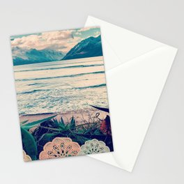 Tropical Island Moutain Collage Stationery Cards
