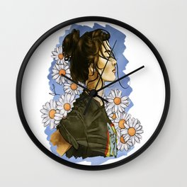 Daisies in blue Wall Clock
