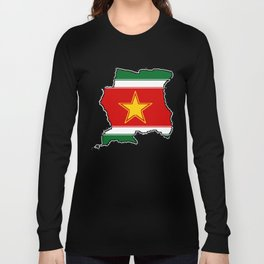 Suriname Surinam map with Surinamer Flag Long Sleeve T-shirt