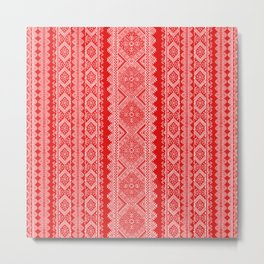Ukrainian embroidery red and white Metal Print