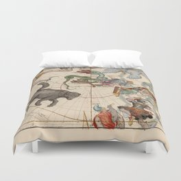 Ignace-Gaston Pardies - Globi coelestis Plate 1: Ursa Major, Ursa Minor, Perseus, and others Duvet Cover