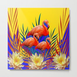 CONTEMPORARY  PURPLE ART DECO FLAMINGOS WATERLILIES-GOLD  ART Metal Print