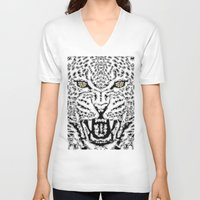 leopard V-neck T-shirts featuring Leopard by BUBUBABA