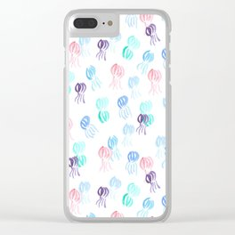 Jellyfish Pattern on White Clear iPhone Case