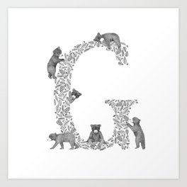 Bearfabet Letter G Art Print