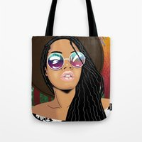 coachella Tote Bags featuring Coachella Chic by Mark Baker-Sanchez