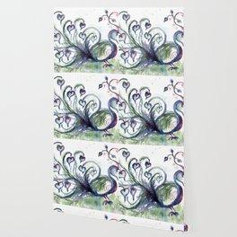 Peacock Pink Hearts watercolour by CheyAnne Sexton Wallpaper