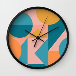 Colorful Geometric Abstraction in Blue and Orange Wall Clock