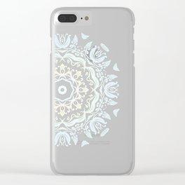 light blue mandalas pattern Clear iPhone Case