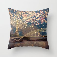 Love Wish Lanterns over Paris Throw Pillow