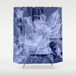 blue fozen leaves Shower Curtain