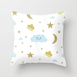Smiling Cloud, Moon, Sleeping Stars Seamless Pattern Throw Pillow