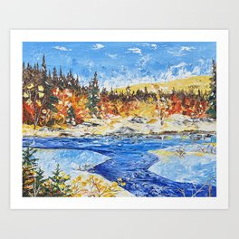 Landscape painting- The clear water River - by LiliFlore Art Print