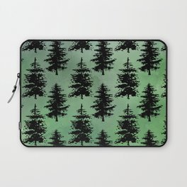 Hand painted watercolor green black winter pine trees Laptop Sleeve