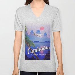 Cambodia vintage flight poster Unisex V-Neck