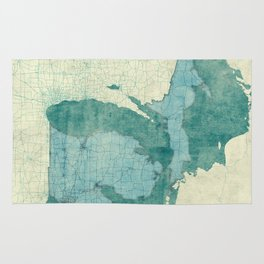 Michigan State Map Blue Vintage Rug