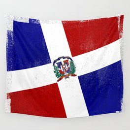 Dominican Republic Distressed Halftone Denim Flag Wall Tapestry