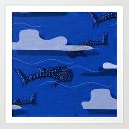 Whale Shark Navy #nautical #whaleshark Art Print