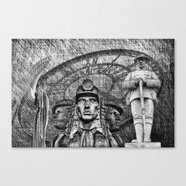 Landmarks 2 Black And White Canvas Print