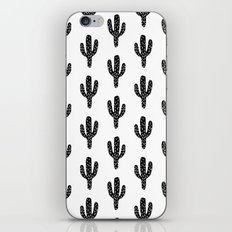 Linocut Cactus black and white minimal modern printmaking trendy hipster canvas dorm college art iPhone & iPod Skin