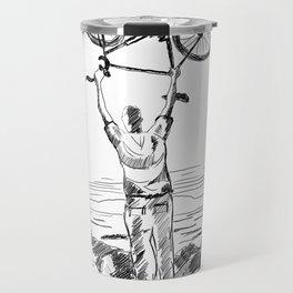 Bike Contemplation - light background Travel Mug