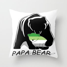 Papa Bear Aromantic Throw Pillow
