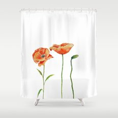 Simply poppy illustration on white backround Shower Curtain
